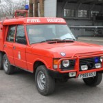 This 6-wheeled Range Rover Carmichael fire tender was still in active use.